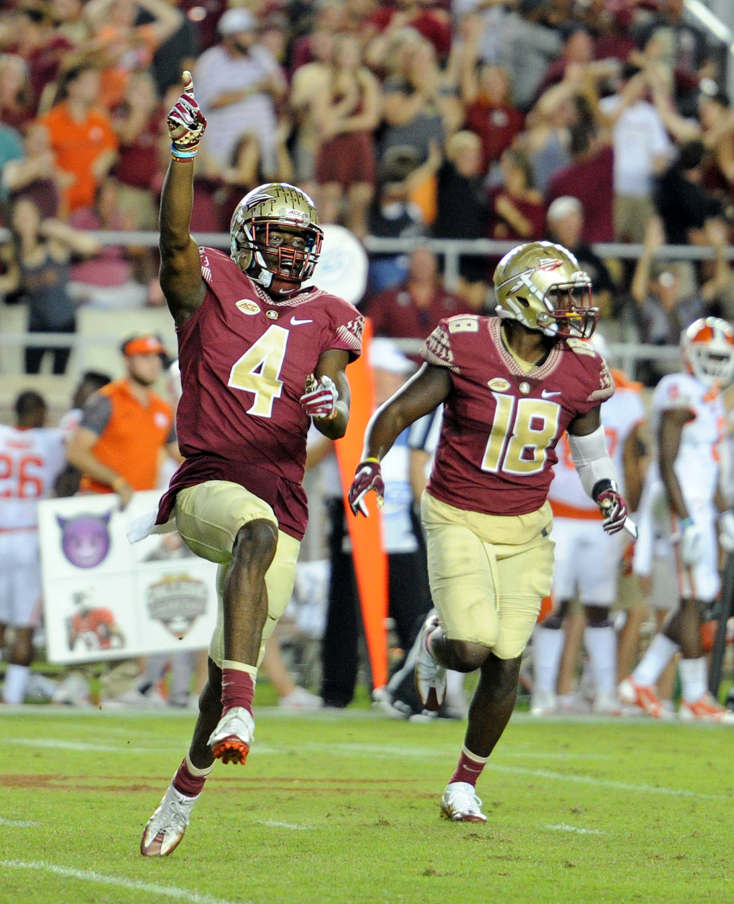 Oct 29, 2016; Tallahassee, FL, USA; Florida State Seminoles cornerback Tavarus McFadden (4) celebrates an interception during the game against the Clemson Tigers at Doak Campbell Stadium. Mandatory Credit: Melina Vastola-USA TODAY Sports