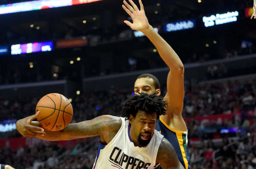 Oct 30, 2016; Los Angeles, CA, USA; Utah Jazz center Rudy Gobert (27) fouls Los Angeles Clippers center DeAndre Jordan (6) in the first half of the game at Staples Center. Clippers won 88-75. Mandatory Credit: Jayne Kamin-Oncea-USA TODAY Sports