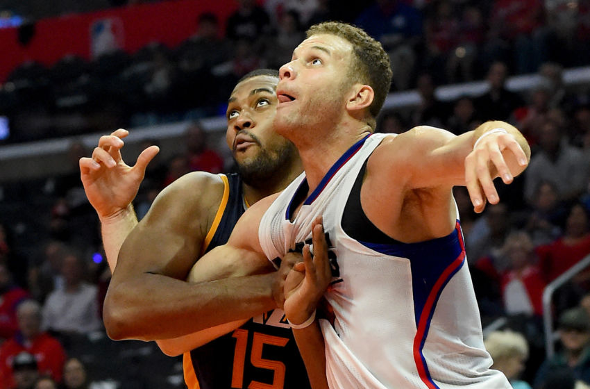 Oct 30, 2016; Los Angeles, CA, USA; Los Angeles Clippers forward Blake Griffin (32) and Utah Jazz forward Derrick Favors (15) battle under the basket in the second half of the game at Staples Center. Clippers won 88-75. Mandatory Credit: Jayne Kamin-Oncea-USA TODAY Sports