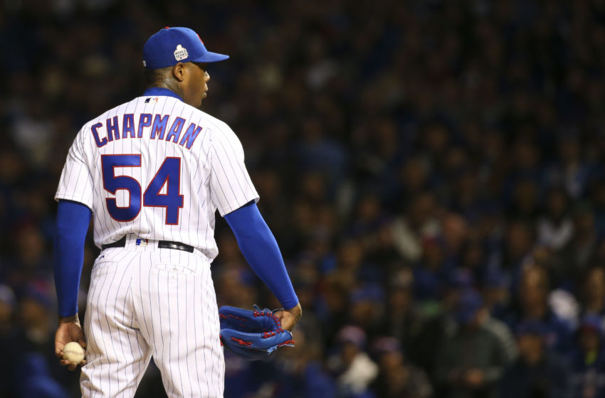 Oct 30, 2016; Chicago, IL, USA; Chicago Cubs relief pitcher Aroldis Chapman (54) prepares to pitch during the ninth inning in game five of the 2016 World Series against the Cleveland Indians at Wrigley Field. Mandatory Credit: Jerry Lai-USA TODAY Sports