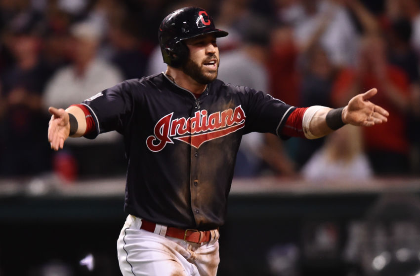 Nov 2, 2016; Cleveland, OH, USA; Cleveland Indians second baseman Jason Kipnis (22) reacts after scoring on a wild pitch against the Chicago Cubs in the fifth inning in game seven of the 2016 World Series at Progressive Field. Mandatory Credit: Ken Blaze-USA TODAY Sports
