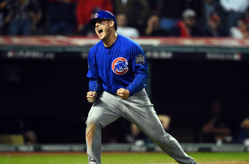Nov 2, 2016; Cleveland, OH, USA; Chicago Cubs first baseman Anthony Rizzo celebrates after scoring a run against the Cleveland Indians in the 10th inning in game seven of the 2016 World Series at Progressive Field. Mandatory Credit: Tommy Gilligan-USA TODAY Sports