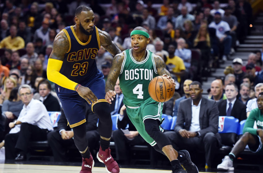Nov 3, 2016; Cleveland, OH, USA; Boston Celtics guard Isaiah Thomas (4) drives to the basket on Cleveland Cavaliers forward LeBron James (23) during the second quarter at Quicken Loans Arena. The Cavs won 128-122. Mandatory Credit: Ken Blaze-USA TODAY Sports