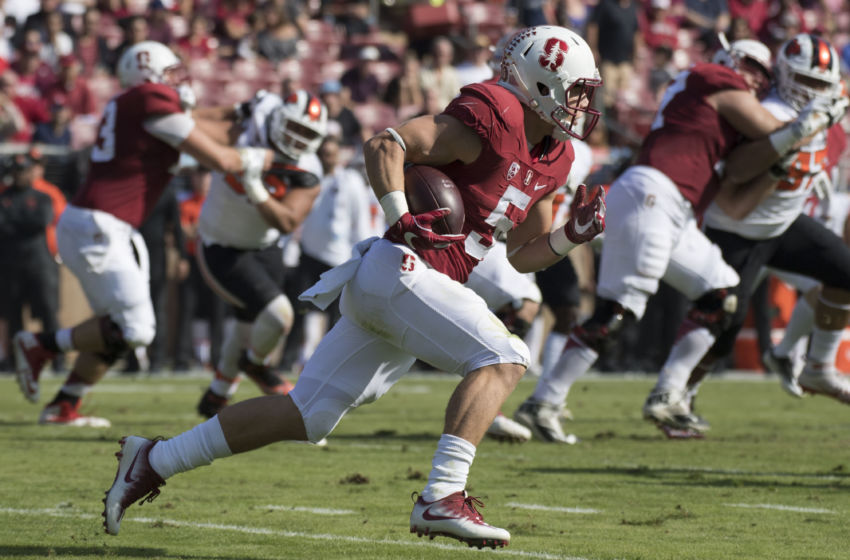 November 5, 2016; Stanford, CA, USA; Stanford Cardinal running back Christian McCaffrey (5) runs with the football against the Oregon State Beavers during the first quarter at Stanford Stadium. Mandatory Credit: Kyle Terada-USA TODAY Sports