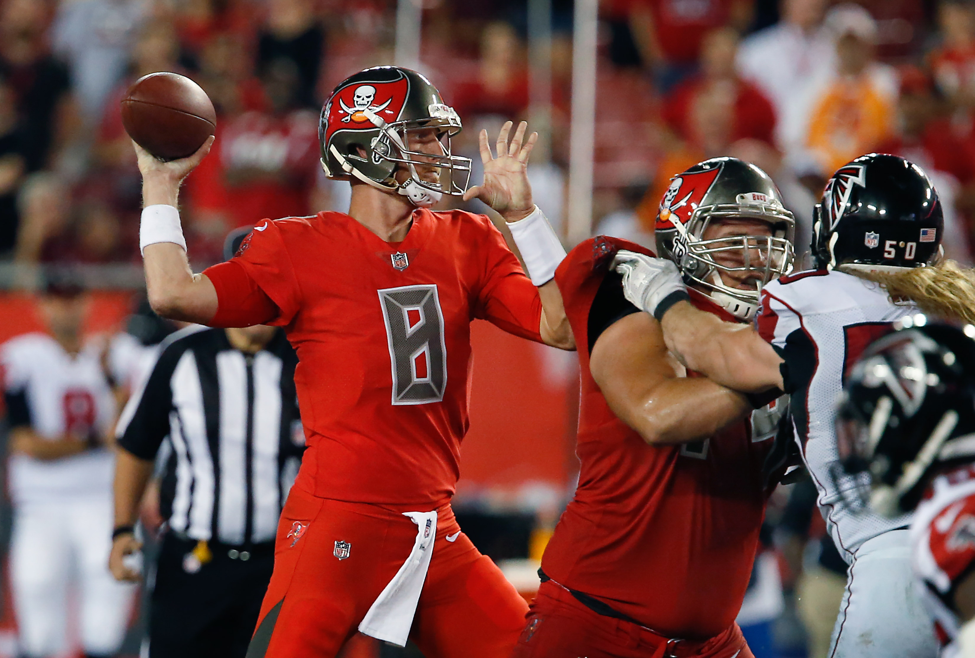 Nov 3, 2016; Tampa, FL, USA; Tampa Bay Buccaneers quarterback Mike Glennon (8) throws a pass during the second half of a football game against the Atlanta Falcons at Raymond James Stadium. The Falcons won 43-28. Mandatory Credit: Reinhold Matay-USA TODAY Sports