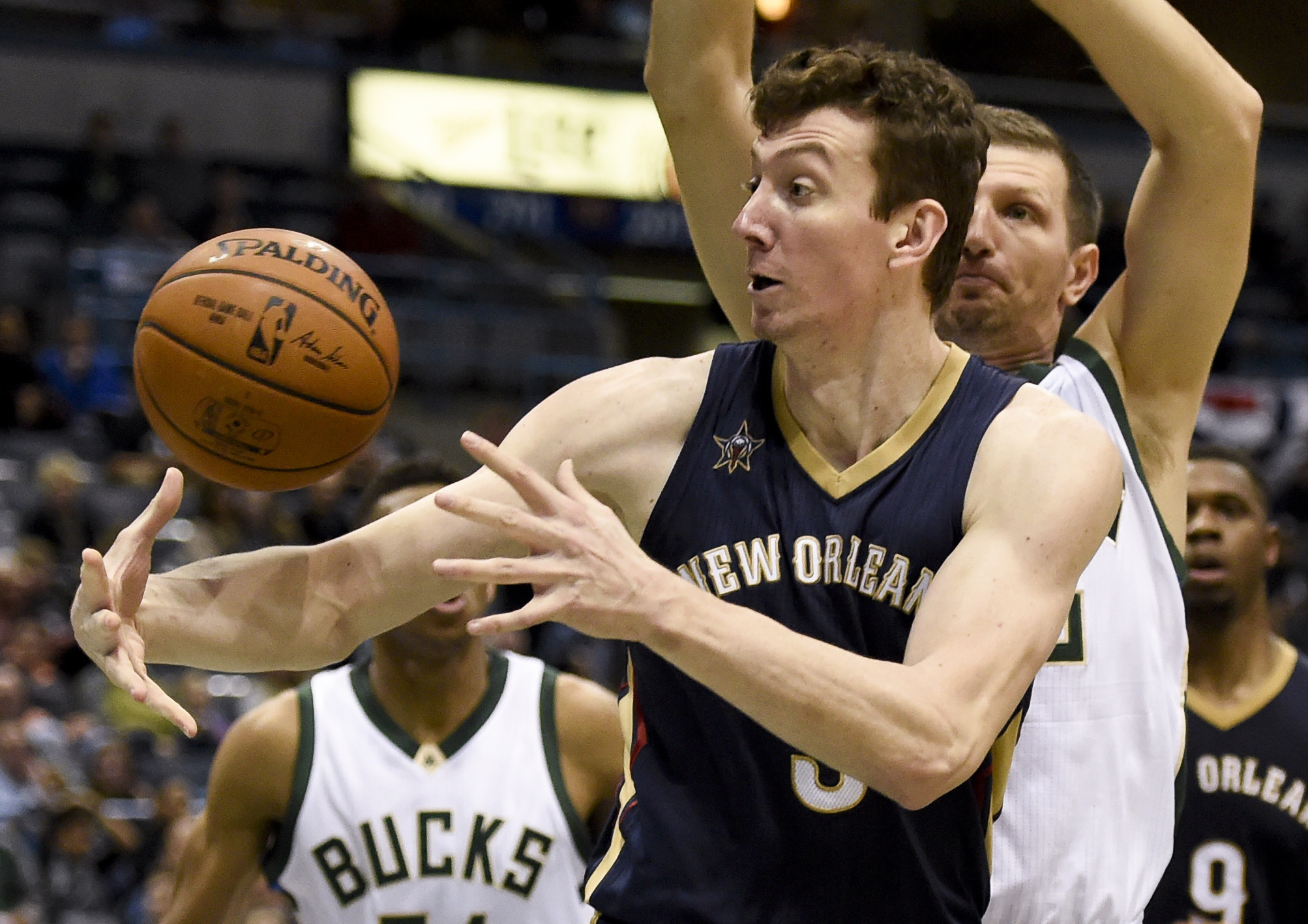 Nov 10, 2016; Milwaukee, WI, USA; New Orleans Pelicans center Omer Asik (3) grabs a loose ball in front of Milwaukee Bucks forward Mirza Teletovic (35) in the second quarter at BMO Harris Bradley Center. Mandatory Credit: Benny Sieu-USA TODAY Sports