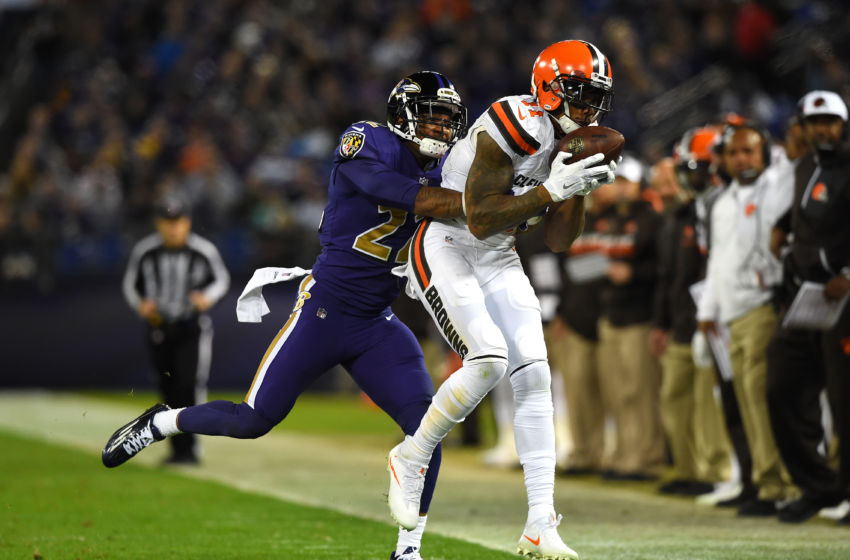 Nov 10, 2016; Baltimore, MD, USA; Cleveland Browns wide receiver Terrelle Pryor (11) makes a catch in front of Baltimore Ravens cornerback Jimmy Smith (22) during the second quarter at M&T Bank Stadium. Mandatory Credit: Tommy Gilligan-USA TODAY Sports