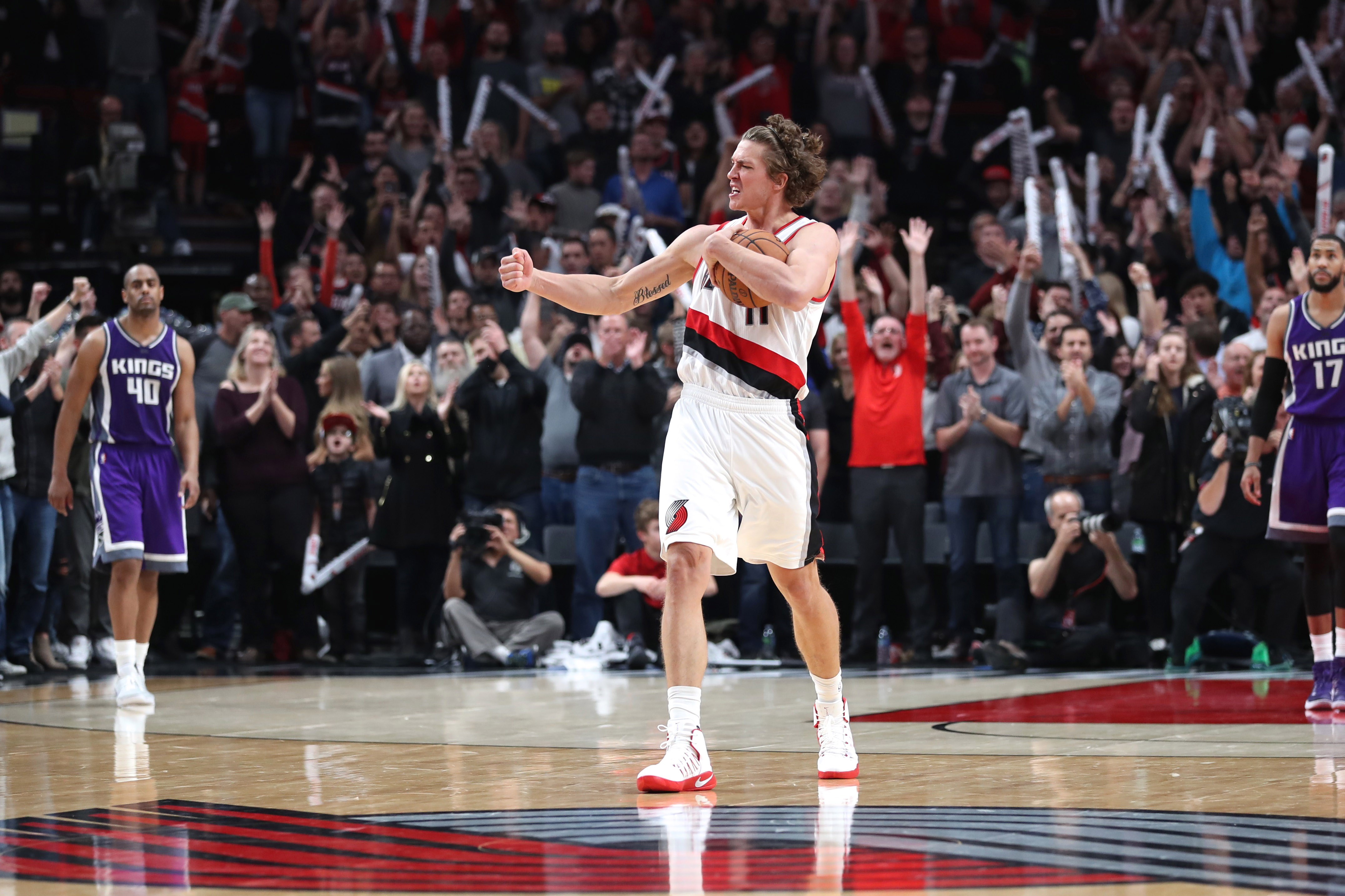 Nov 11, 2016; Portland, OR, USA; Portland Trail Blazers forward Meyers Leonard (11) celebrates Portland's 122-120 win over Sacramento Kings in overtime at Moda Center at the Rose Quarter. Mandatory Credit: Jaime Valdez-USA TODAY Sports