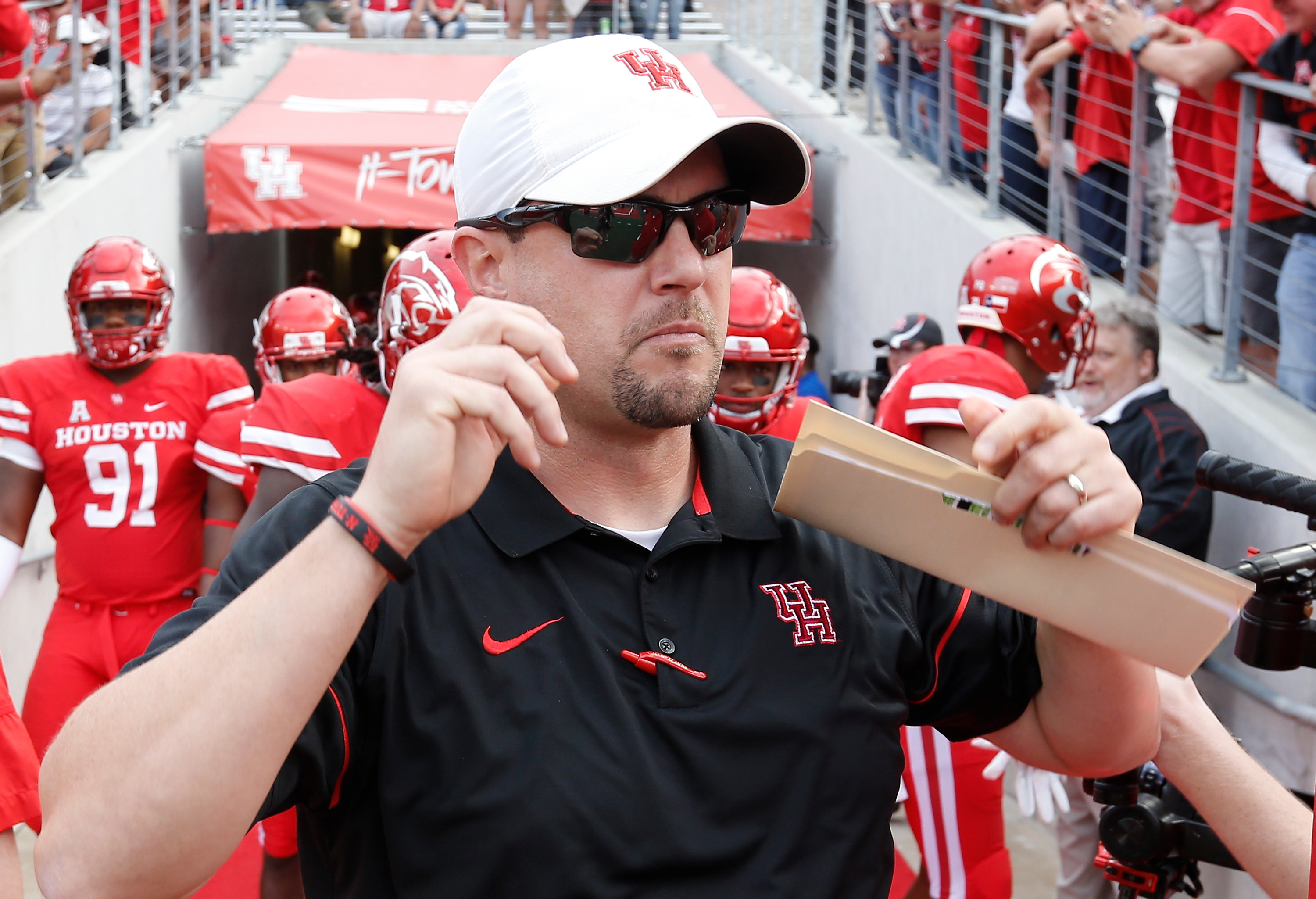 Nov 12, 2016; Houston, TX, USA; Houston Cougars head coach Tom Herman is seen before playing against the Tulane Green Wave at TDECU Stadium. Houston won 30 to 18. Mandatory Credit: Thomas B. Shea-USA TODAY Sports