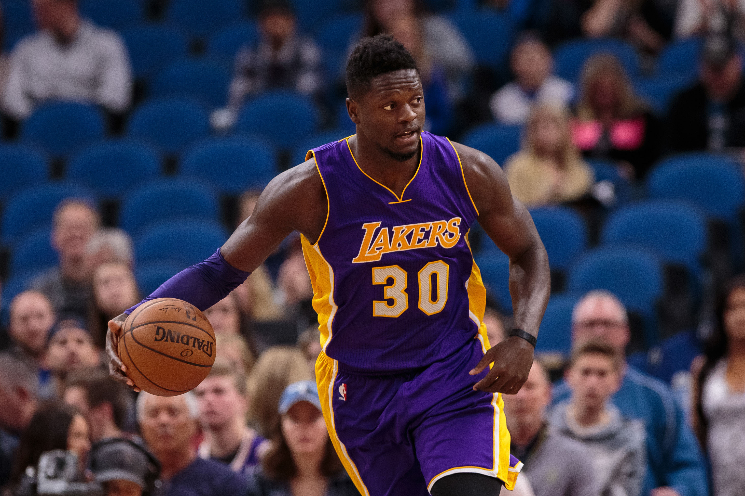 Nov 13, 2016; Minneapolis, MN, USA; Los Angeles Lakers forward Julius Randle (30) dribbles in the first quarter against the Minnesota Timberwolves at Target Center. Mandatory Credit: Brad Rempel-USA TODAY Sports