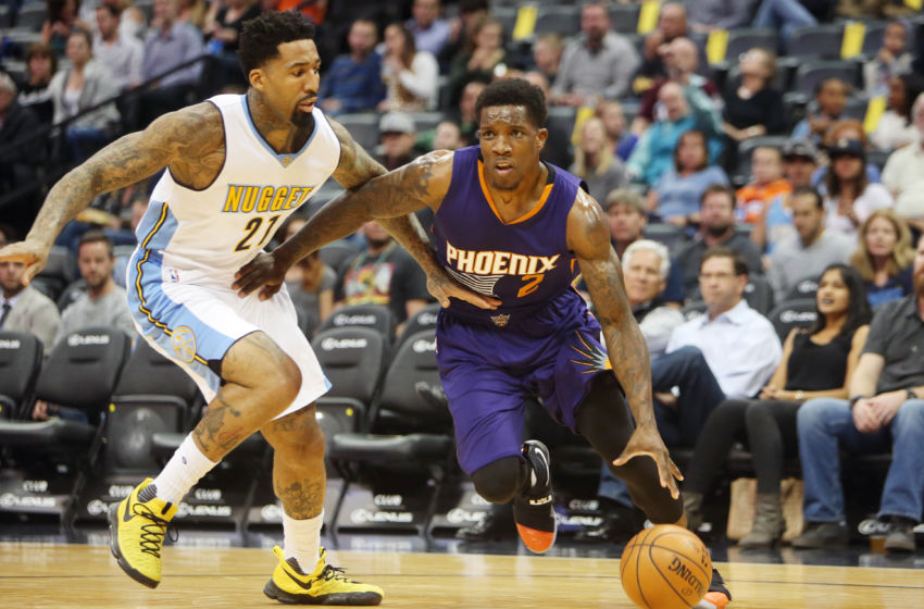 Nov 16, 2016; Denver, CO, USA; Phoenix Suns guard Eric Bledsoe (2) drives to the basket against Denver Nuggets forward Wilson Chandler (21) during the first half at Pepsi Center. Mandatory Credit: Chris Humphreys-USA TODAY Sports