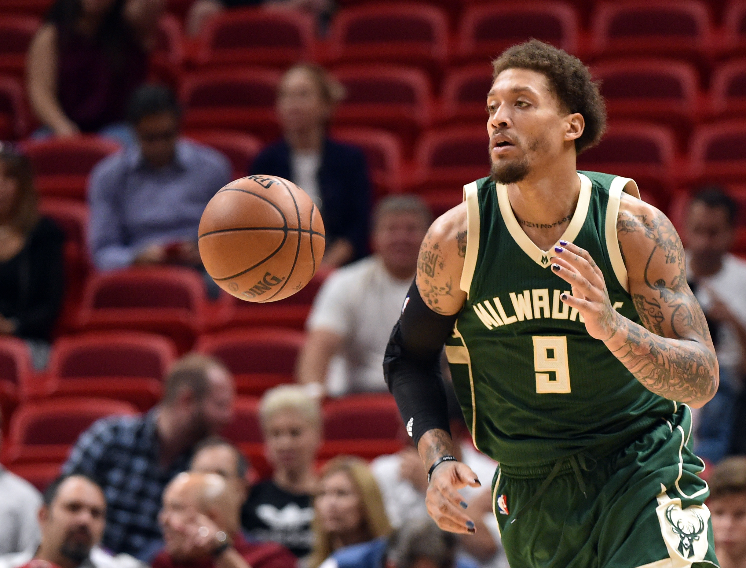 Nov 17, 2016; Miami, FL, USA; Milwaukee Bucks forward Michael Beasley (9) dribbles the ball against the Miami Heat during the first half at American Airlines Arena. Mandatory Credit: Steve Mitchell-USA TODAY Sports
