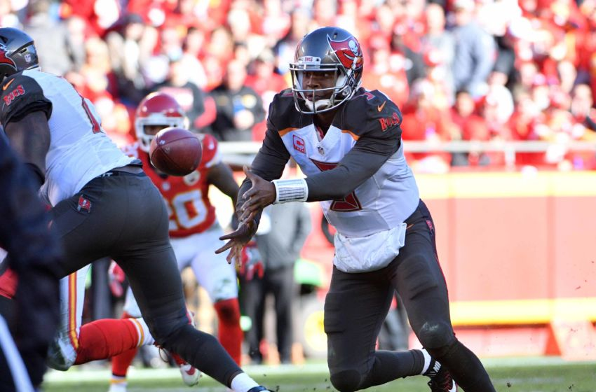 Nov 20, 2016; Kansas City, MO, USA; Tampa Bay Buccaneers quarterback Jameis Winston (3) pitches out the football during the second half against the Kansas City Chiefs at Arrowhead Stadium. Tampa Bay won 19-17. Mandatory Credit: Denny Medley-USA TODAY Sports
