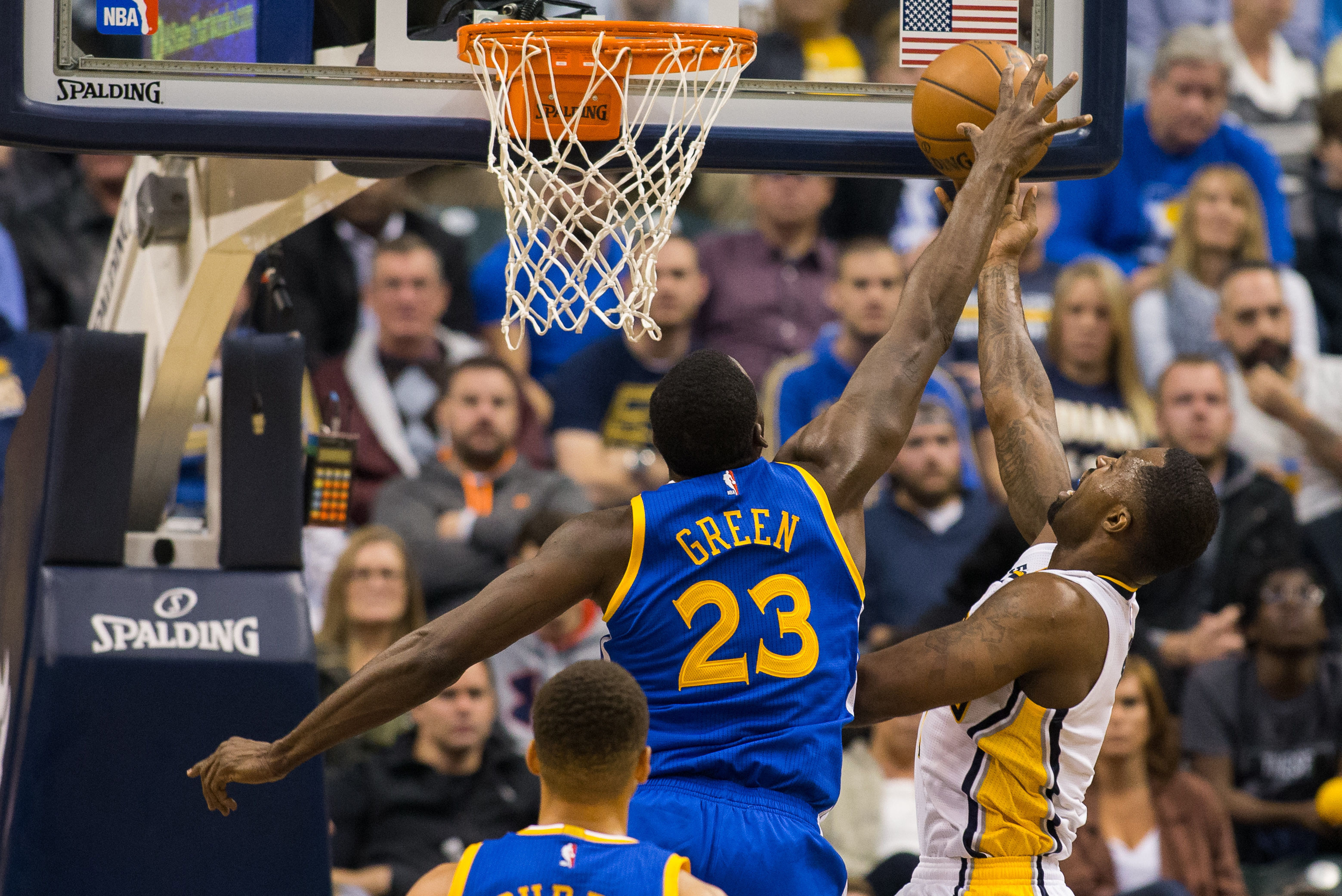 Nov 21, 2016; Indianapolis, IN, USA; Golden State Warriors forward Draymond Green (23) blocks the shot of Indiana Pacers guard Rodney Stuckey (2) in the first half of the game at Bankers Life Fieldhouse. Golden State beat Indiana 120-83. Mandatory Credit: Trevor Ruszkowski-USA TODAY Sports