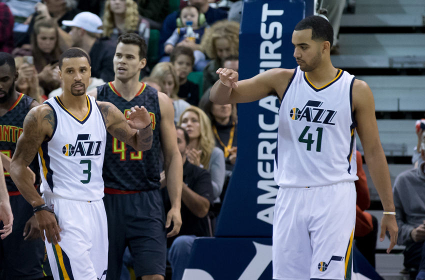 Nov 25, 2016; Salt Lake City, UT, USA; Utah Jazz guard George Hill (3) and forward Trey Lyles (41) react during the second half against the Atlanta Hawks at Vivint Smart Home Arena. The Jazz won 95-68. Mandatory Credit: Russ Isabella-USA TODAY Sports