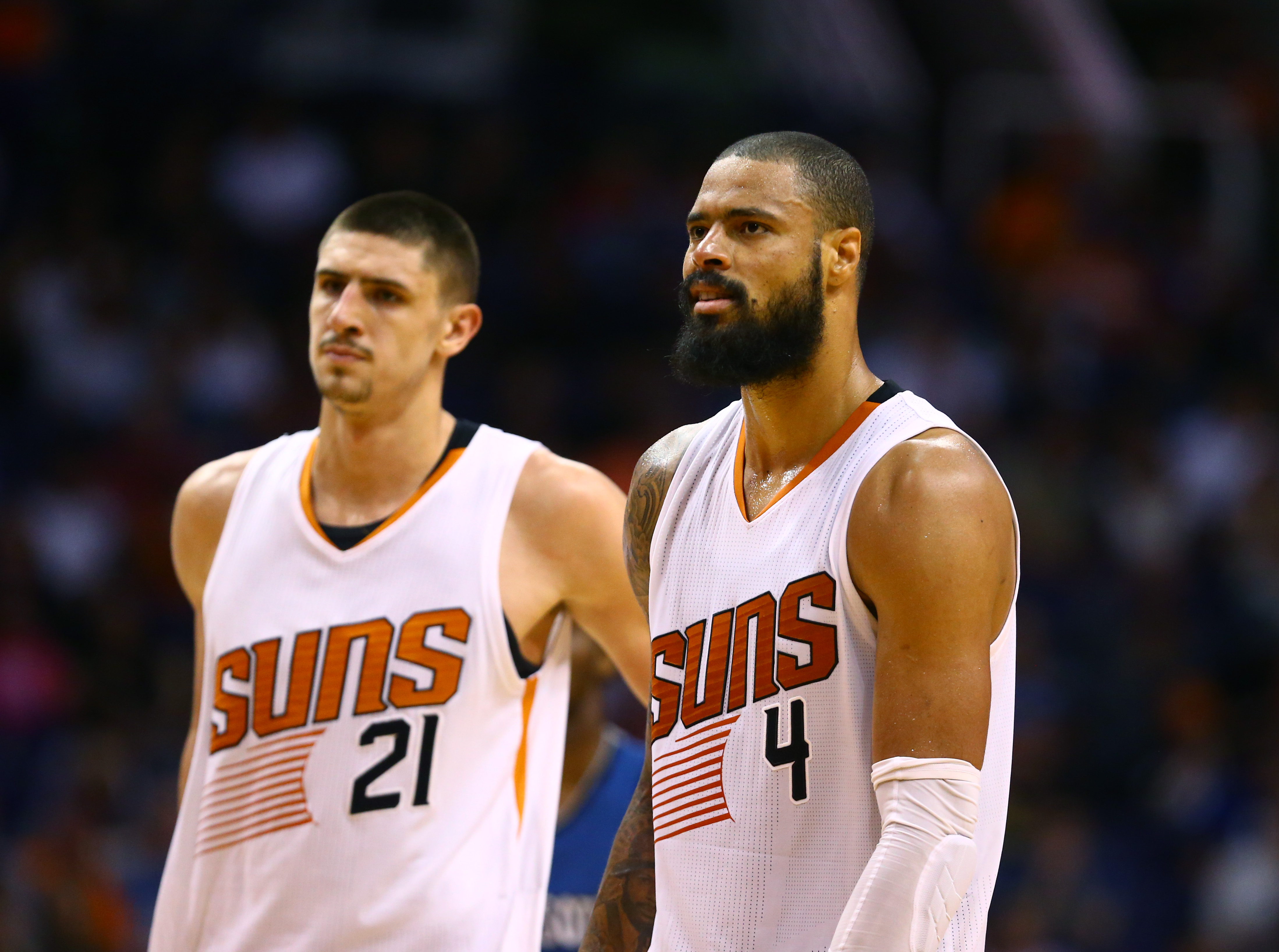 Mar 14, 2016; Phoenix, AZ, USA; Phoenix Suns center Alex Len (21) and Tyson Chandler (4) against the Minnesota Timberwolves at Talking Stick Resort Arena. The Suns defeated the Timberwolves 107-104. Mandatory Credit: Mark J. Rebilas-USA TODAY Sports
