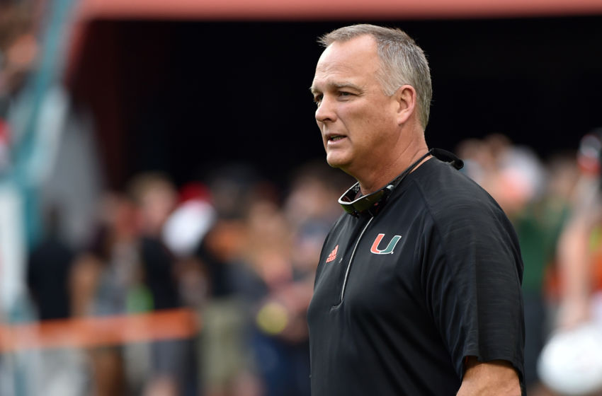 Nov 26, 2016; Miami Gardens, FL, USA; Miami Hurricanes head coach Mark Richt looks on prior to a game against then Duke Blue Devils at Hard Rock Stadium. Mandatory Credit: Steve Mitchell-USA TODAY Sports