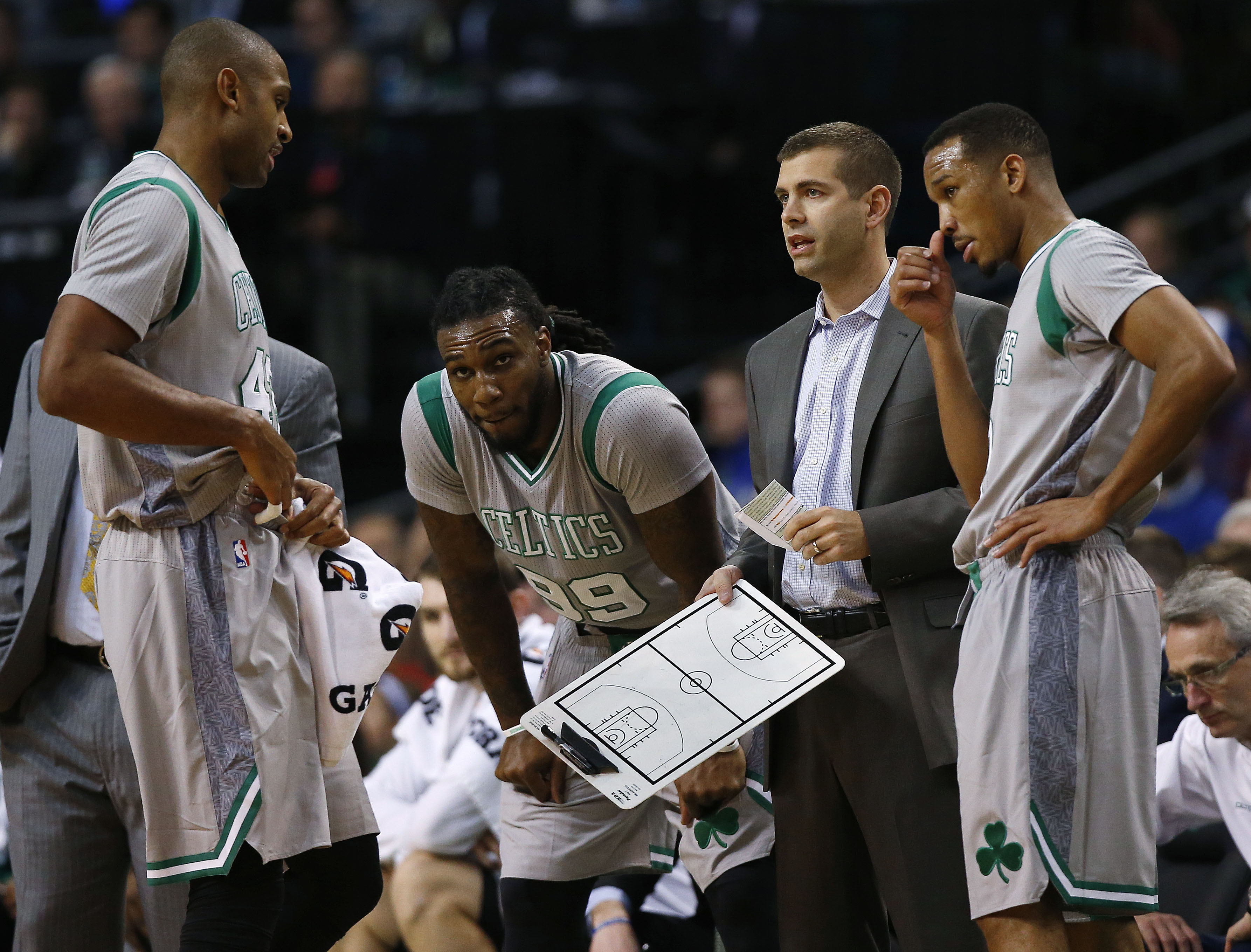 Dec 2, 2016; Boston, MA, USA; Boston Celtics head coach Brad Stevens talks with Boston Celtics center Al Horford (42) and forward Jae Crowder (99) and guard Avery Bradley (0) during the first half against the Sacramento Kings at TD Garden. Mandatory Credit: Winslow Townson-USA TODAY Sports