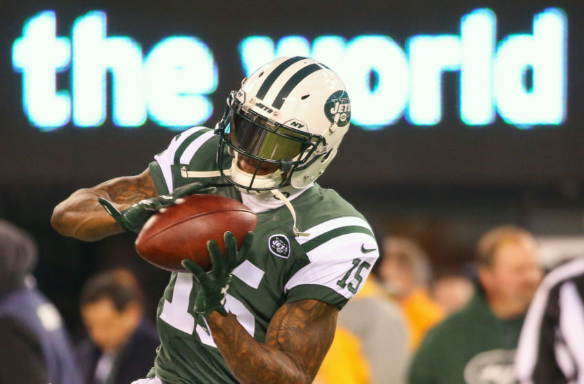 Dec 5, 2016; East Rutherford, NJ, USA; New York Jets wide receiver Brandon Marshall (15) catches a pass during the pre-game warmups for a game against the Indianapolis Colts at MetLife Stadium. Mandatory Credit: Ed Mulholland-USA TODAY Sports