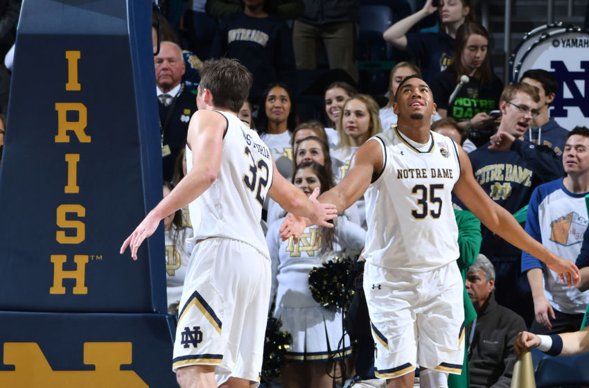 Dec 6, 2016; South Bend, IN, USA; Notre Dame Fighting Irish guard Steve Vasturia (32) and forward Bonzie Colson (35) react in the closing seconds of the second half against the IPFW Mastodons at the Purcell Pavilion. Notre Dame won 87-72. Mandatory Credit: Matt Cashore-USA TODAY Sports