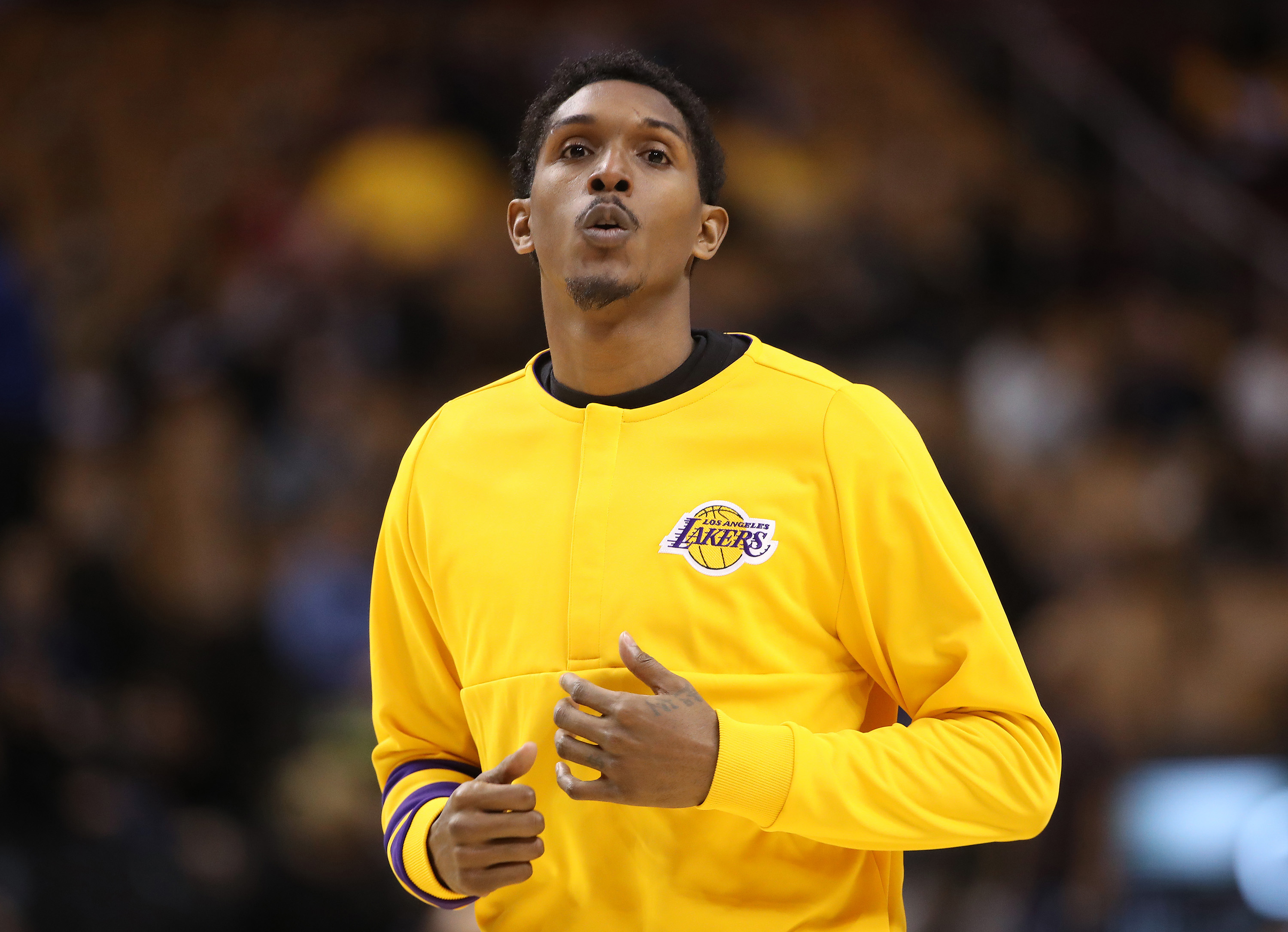 Dec 2, 2016; Toronto, Ontario, CAN; Los Angeles Lakers point guard Lou Williams (23) warms up before the start of their game against the Toronto Raptors at Air Canada Centre. The Raptors beat the Lakers 113-80. Mandatory Credit: Tom Szczerbowski-USA TODAY Sports