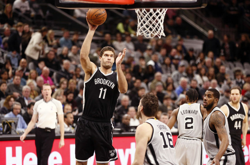 Dec 10, 2016; San Antonio, TX, USA; Brooklyn Nets center Brook Lopez (11) shoots the ball over San Antonio Spurs center Pau Gasol (16) during the first half at AT&T Center. Mandatory Credit: Soobum Im-USA TODAY Sports