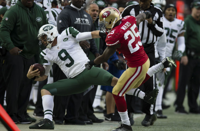 Dec 11, 2016; Santa Clara, CA, USA; San Francisco 49ers cornerback Jimmie Ward (25) pushes New York Jets quarterback Bryce Petty (9) out of bounds during the fourth quarter at Levi's Stadium. The New York Jets defeated the San Francisco 49ers 23-17. Mandatory Credit: Kelley L Cox-USA TODAY Sports