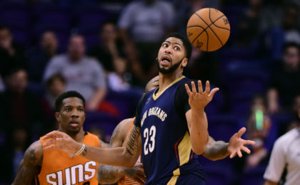 Dec 11, 2016; Phoenix, AZ, USA; New Orleans Pelicans forward Anthony Davis (23) reaches for the loose ball in the second half against the Phoenix Suns at Talking Stick Resort Arena. The New Orleans Pelicans won 120 - 119 in overtime. Mandatory Credit: Jennifer Stewart-USA TODAY Sports