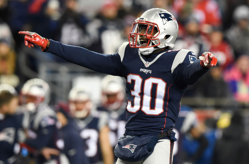 Dec 12, 2016; Foxborough, MA, USA; New England Patriots free safety Duron Harmon (30) waits for the snap against the Baltimore Ravens during the second half at Gillette Stadium. Mandatory Credit: Bob DeChiara-USA TODAY Sports