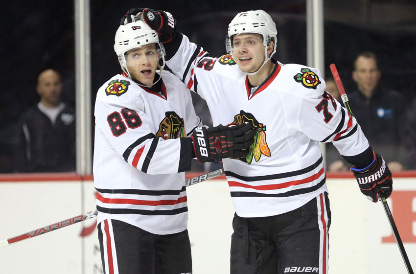 Dec 15, 2016; Brooklyn, NY, USA; Chicago Blackhawks left wing Artemi Panarin (72) celebrates his goal against the New York Islanders with Chicago Blackhawks right wing Patrick Kane (88) during the first period at Barclays Center. Mandatory Credit: Brad Penner-USA TODAY Sports