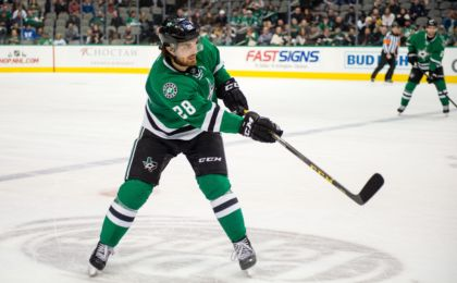 Dec 8, 2016; Dallas, TX, USA; Dallas Stars defenseman Stephen Johns (28) skates against the Nashville Predators during the game at the American Airlines Center. The Stars defeat the Predators 5-2. Mandatory Credit: Jerome Miron-USA TODAY Sports
