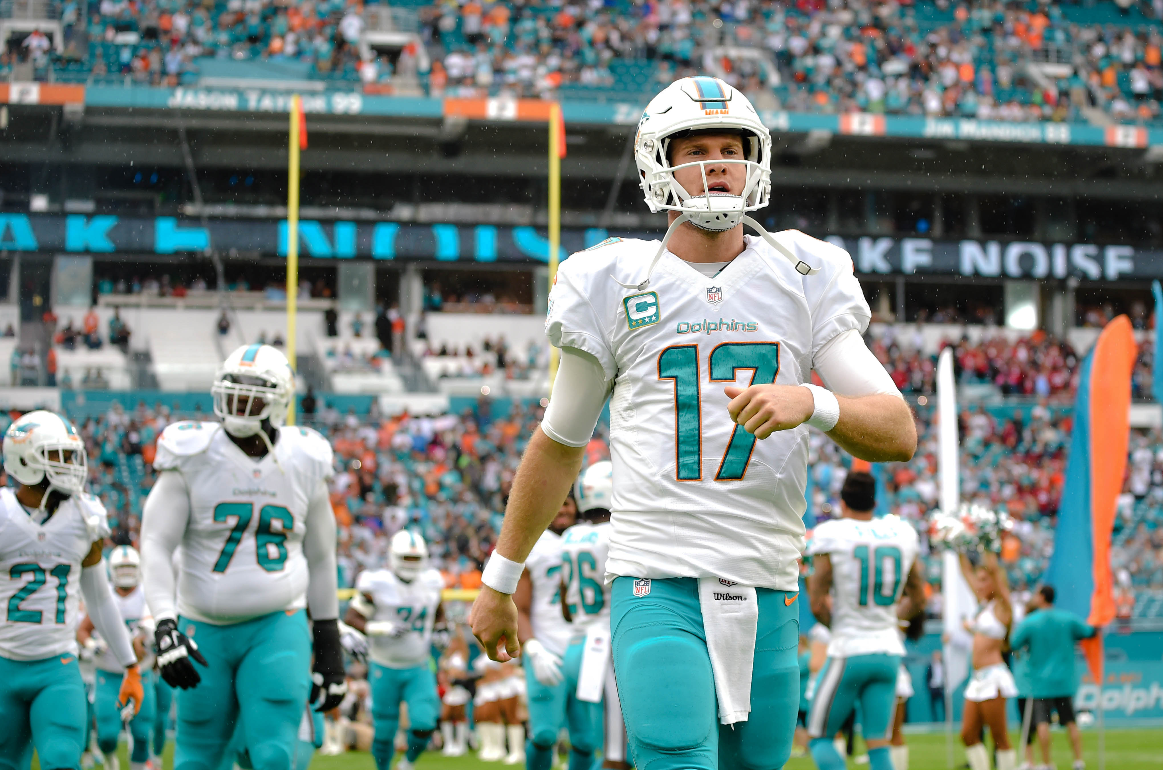 Dec 11, 2016; Miami Gardens, FL, USA; Miami Dolphins quarterback Ryan Tannehill (17) takes the field before a game against the Arizona Cardinals at Hard Rock Stadium. Mandatory Credit: Steve Mitchell-USA TODAY Sports