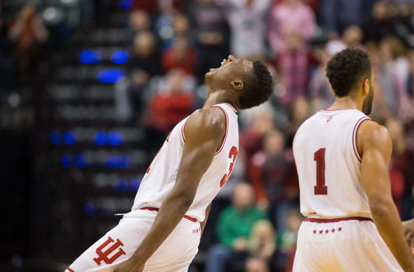 Dec 17, 2016; Indianapolis, IN, USA; Indiana Hoosiers center Thomas Bryant (31) reacts to a basket in the second half of the game against the Indiana Hoosiers at Bankers Life Fieldhouse. Butler beat Indiana 83-78. Mandatory Credit: Trevor Ruszkowski-USA TODAY Sports