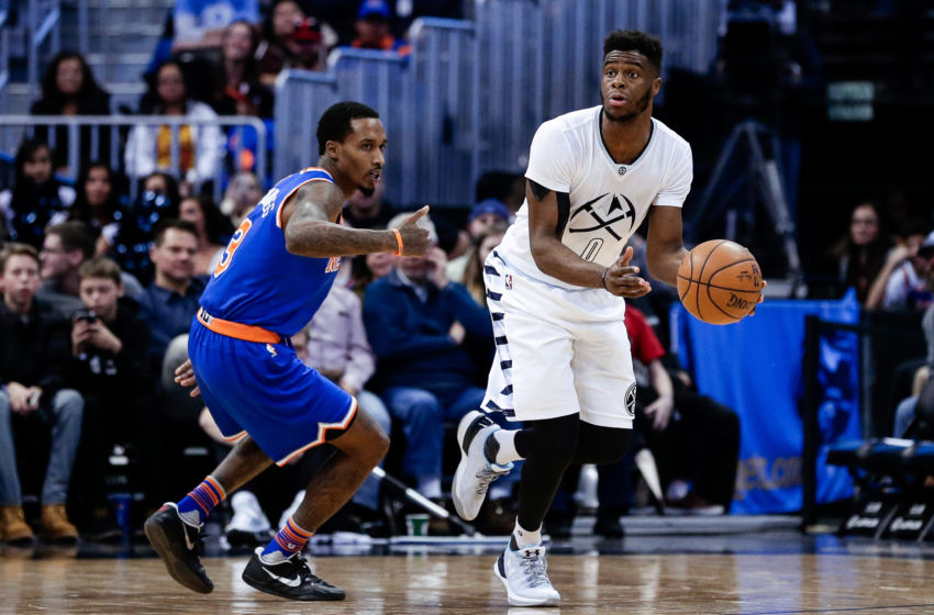Dec 17, 2016; Denver, CO, USA; New York Knicks guard Brandon Jennings (3) guards Denver Nuggets guard Emmanuel Mudiay (0) in the fourth quarter at the Pepsi Center. The Nuggets won 127-114. Mandatory Credit: Isaiah J. Downing-USA TODAY Sports
