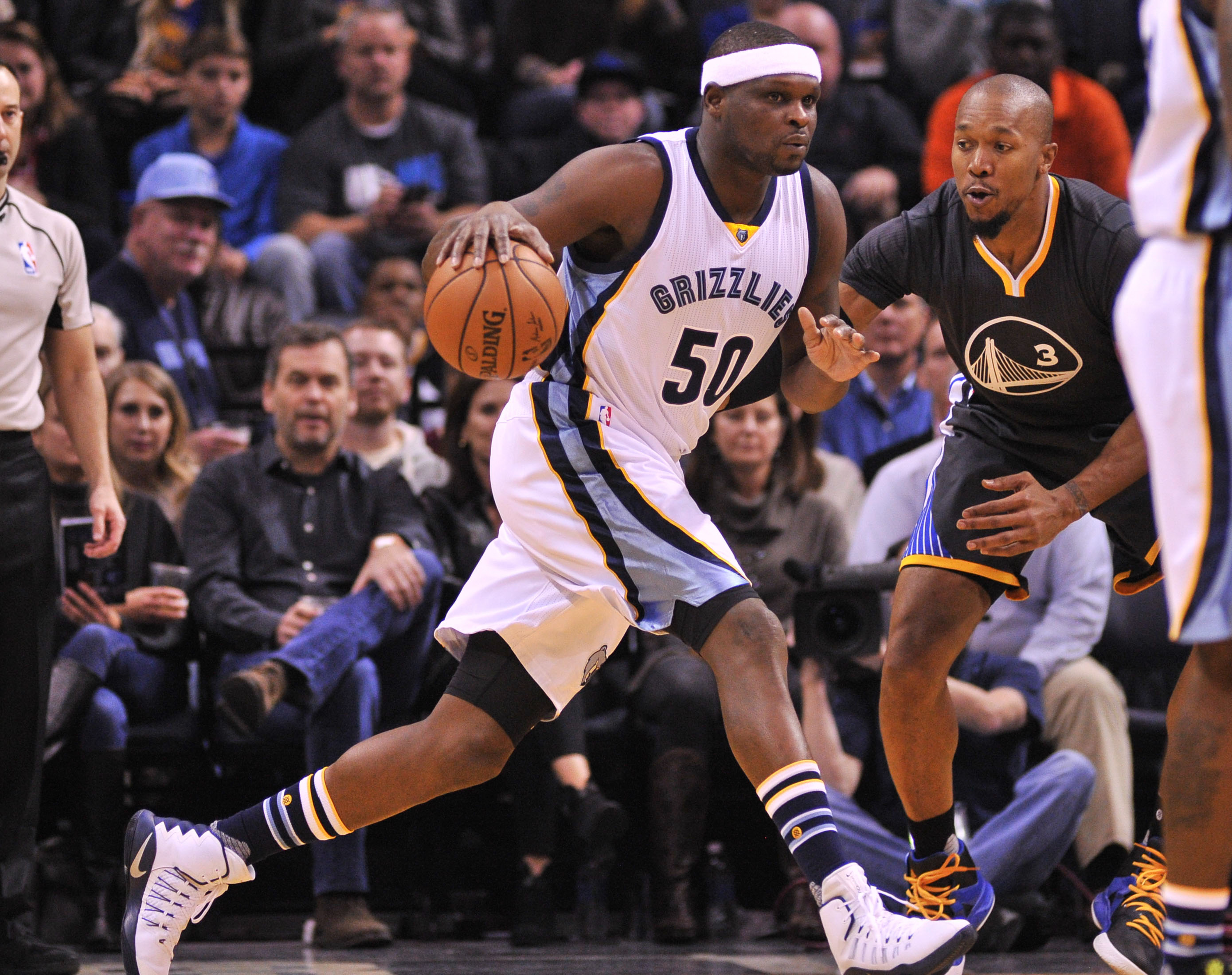 Dec 10, 2016; Memphis, TN, USA; Memphis Grizzlies forward Zach Randolph (50) handles the ball against Golden State Warriors forward David West (3) during the game at FedExForum. Memphis Grizzlies defeated the Golden State Warriors 110-89. Mandatory Credit: Justin Ford-USA TODAY Sports