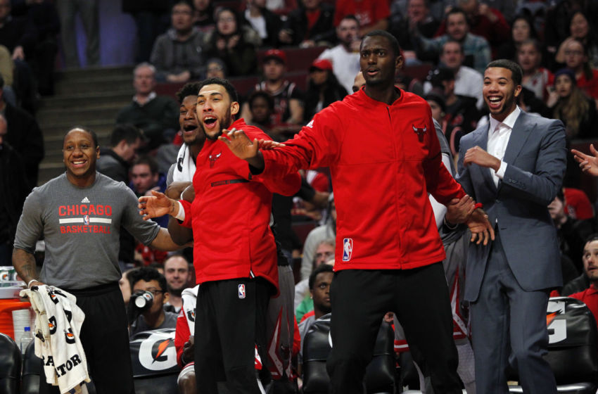 Dec 19, 2016; Chicago, IL, USA; The Chicago Bulls bench reacts to a call during the first half of the game against the Detroit Pistons at United Center. Mandatory Credit: Caylor Arnold-USA TODAY Sports
