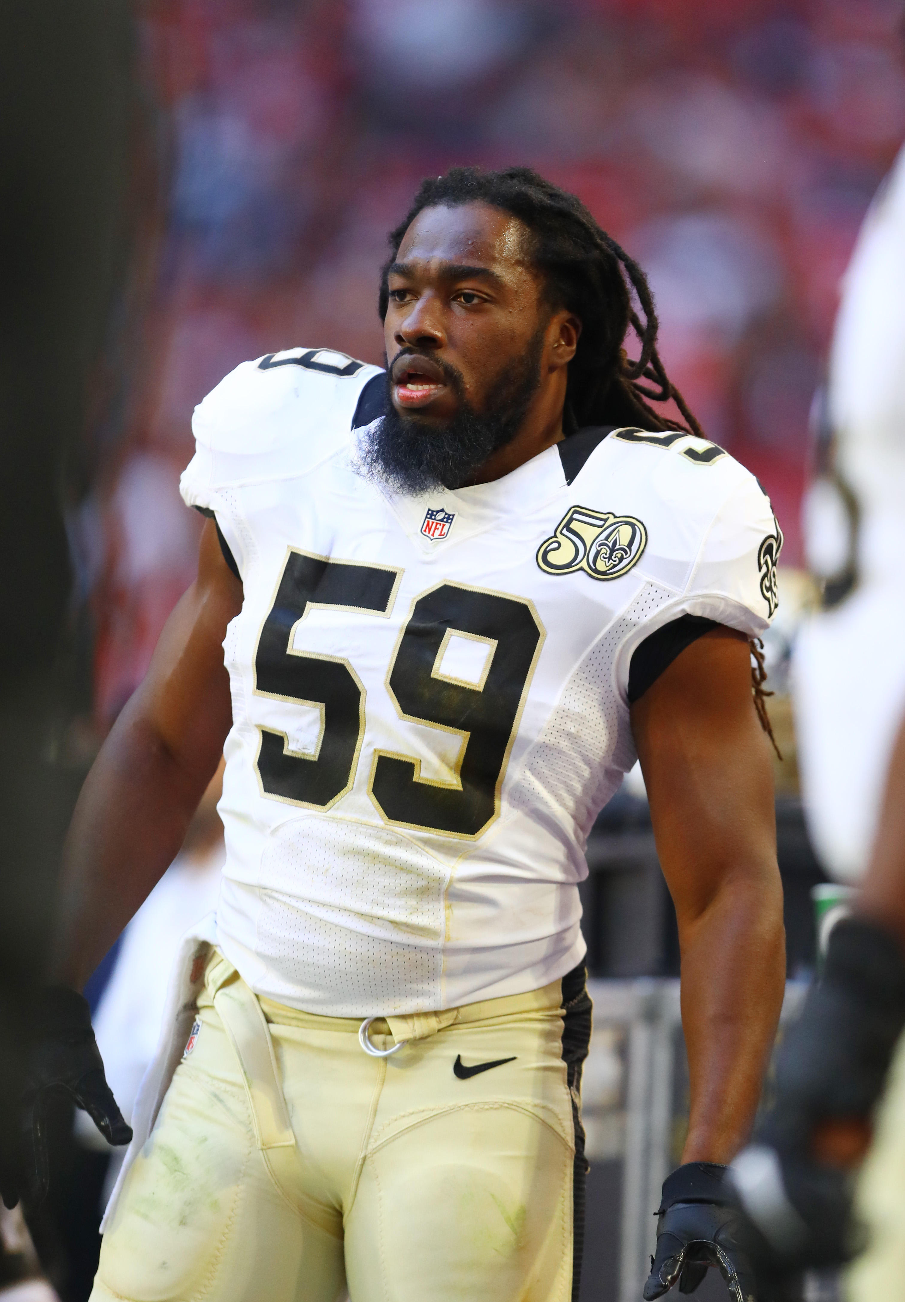 Dec 18, 2016; Glendale, AZ, USA; New Orleans Saints linebacker Dannell Ellerbe (59) against the Arizona Cardinals at University of Phoenix Stadium. The Saints defeated the Cardinals 48-41. Mandatory Credit: Mark J. Rebilas-USA TODAY Sports