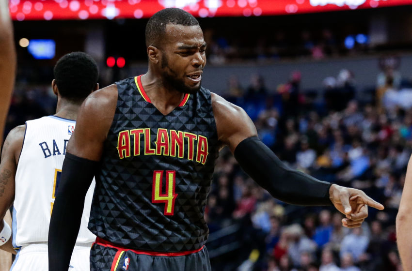 Dec 23, 2016; Denver, CO, USA; Atlanta Hawks forward Paul Millsap (4) reacts after a play in the fourth quarter against the Denver Nuggets at the Pepsi Center. The Hawks won 109-108. Mandatory Credit: Isaiah J. Downing-USA TODAY Sports