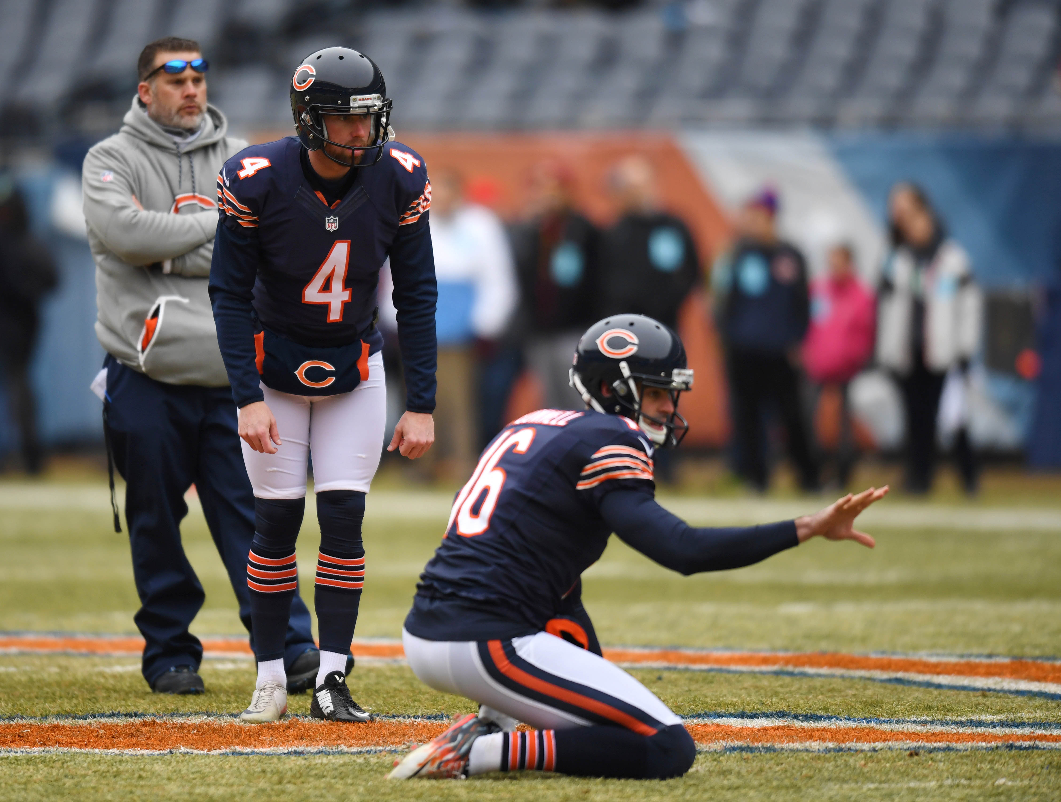 Dec 24, 2016; Chicago, IL, USA; Chicago Bears kicker Connor Barth (4) and punter Pat O'Donnell (16) warm up prior to their game against the Washington Redskins at Soldier Field. Mandatory Credit: Patrick Gorski-USA TODAY Sports