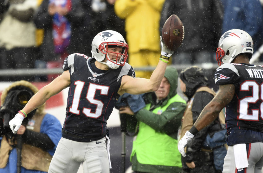 Dec 24, 2016; Foxborough, MA, USA; New England Patriots wide receiver Chris Hogan (15) reacts after catching a pass for a first down against the New York Jets at Gillette Stadium. Mandatory Credit: Bob DeChiara-USA TODAY Sports