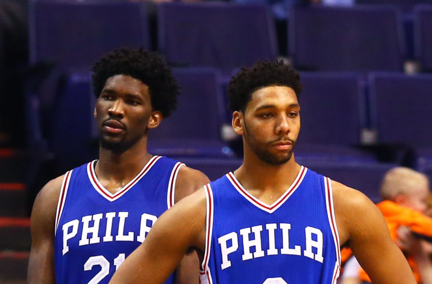 Dec 23, 2016; Phoenix, AZ, USA; Philadelphia 76ers center Jahlil Okafor (8) and center Joel Embiid (21) against the Phoenix Suns at Talking Stick Resort Arena. The Suns defeated the 76ers 123-116. Mandatory Credit: Mark J. Rebilas-USA TODAY Sports