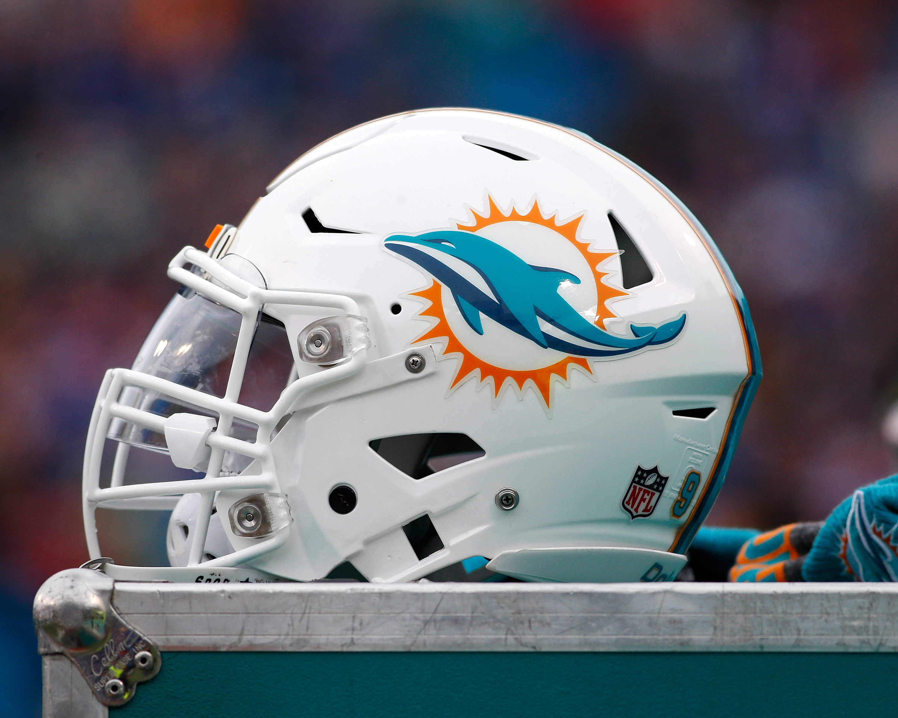 Dec 24, 2016; Orchard Park, NY, USA; A general view of a Miami Dolphins helmet before the game against the Buffalo Bills at New Era Field. Mandatory Credit: Kevin Hoffman-USA TODAY Sports