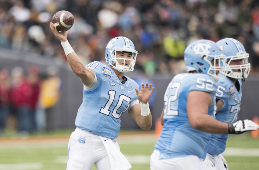 Dec 30, 2016; El Paso, TX, USA; North Carolina Tar Heels quarterback Mitch Trubisky (10) throws the ball against the Stanford Cardinal defense at Sun Bowl Stadium. Mandatory Credit: Ivan Pierre Aguirre-USA TODAY Sports