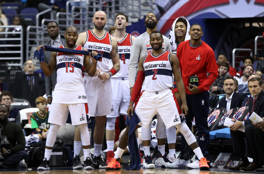 Dec 30, 2016; Washington, DC, USA; Washington Wizards guard John Wall (2) looks on with teammates from he bench against the Brooklyn Nets in the fourth quarter at Verizon Center. The Wizards won 118-95. Mandatory Credit: Geoff Burke-USA TODAY Sports