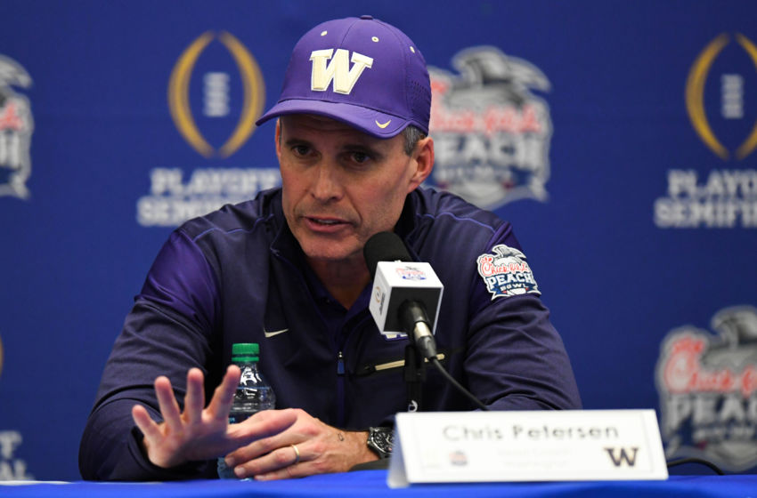Dec 31, 2016; Atlanta, GA, USA; Washington Huskies head coach Chris Petersen speaks at a press conference after the game against the Alabama Crimson Tide in the 2016 CFP Semifinal at the Georgia Dome. Alabama defeated Washington 24-7. Mandatory Credit: RVR Photos-USA TODAY Sports