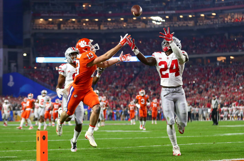 December 31, 2016; Glendale, AZ, USA; Ohio State Buckeyes safety Malik Hooker (24) intercepts a pass intended for Clemson Tigers wide receiver Hunter Renfrow (13) during the first half of the the 2016 CFP semifinal at University of Phoenix Stadium. Mandatory Credit: Mark J. Rebilas-USA TODAY Sports