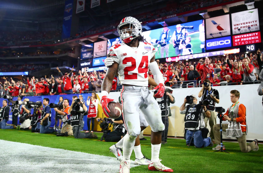 December 31, 2016; Glendale, AZ, USA; Ohio State Buckeyes safety Malik Hooker (24) celebrates after intercepting a pass against the Clemson Tigers during the first half of the the 2016 CFP semifinal at University of Phoenix Stadium. Mandatory Credit: Mark J. Rebilas-USA TODAY Sports