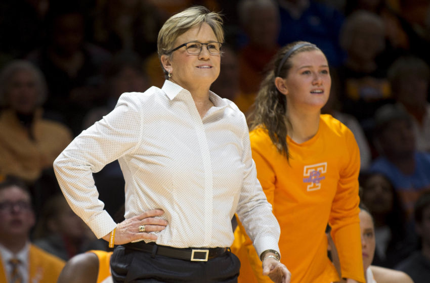 Jan 1, 2017; Knoxville, TN, USA; Tennessee head coach Holly Warlick (left) and guard Alexa Middleton , right, watches from the sidelines during the second half against Kentucky at Thompson-Boling Arena. Tennessee defeated Kentucky 72-65. Mandatory Credit: Brianna Paciorka/Knoxville News Sentinel via USA TODAY NETWORK