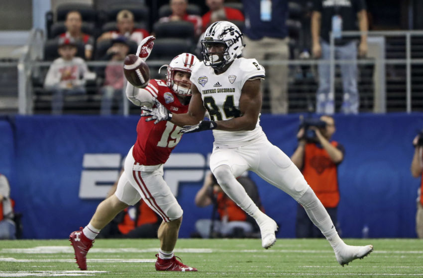 Jan 2, 2017; Arlington, TX, USA; Western Michigan Broncos wide receiver Corey Davis (84) catches a pass in front of Wisconsin Badgers safety Leo Musso (19) during the first half in the 2017 Cotton Bowl at AT&T Stadium. Mandatory Credit: Kevin Jairaj-USA TODAY Sports