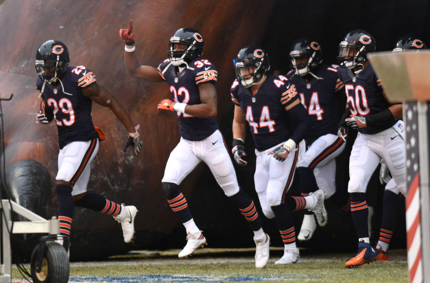 Dec 24, 2016; Chicago, IL, USA; Chicago Bears Defensive back Deiondre' Hall (32) enters the field with teammates prior to a game against the Washington Redskins at Soldier Field. Redskins won 41-21. Mandatory Credit: Patrick Gorski-USA TODAY Sports